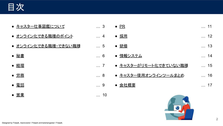目次 2 ● キャスター仕事図鑑について ● オンライン化できる職種のポイント ● オンライン...