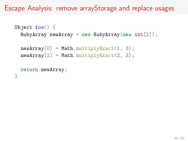 Escape Analysis: remove arrayStorage and replac...