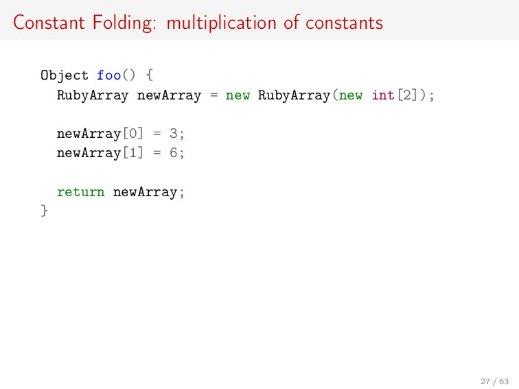 Constant Folding: multiplication of constants O...