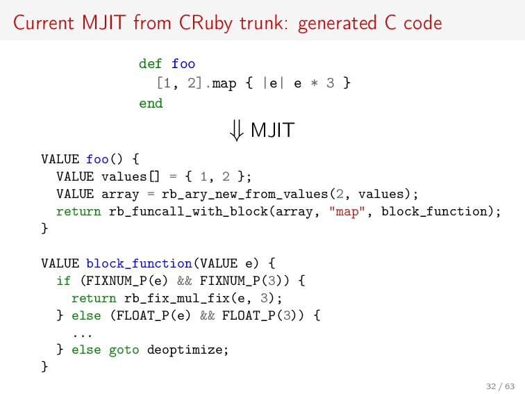 Current MJIT from CRuby trunk: generated C code...