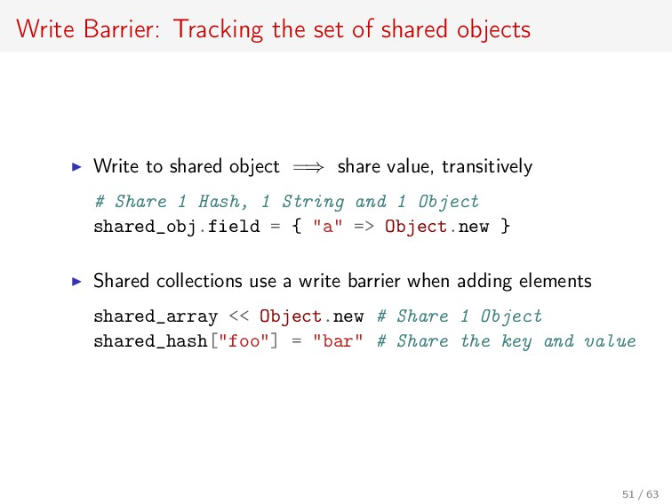 Write Barrier: Tracking the set of shared objec...