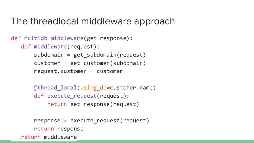 The threadlocal middleware approach def multidb...