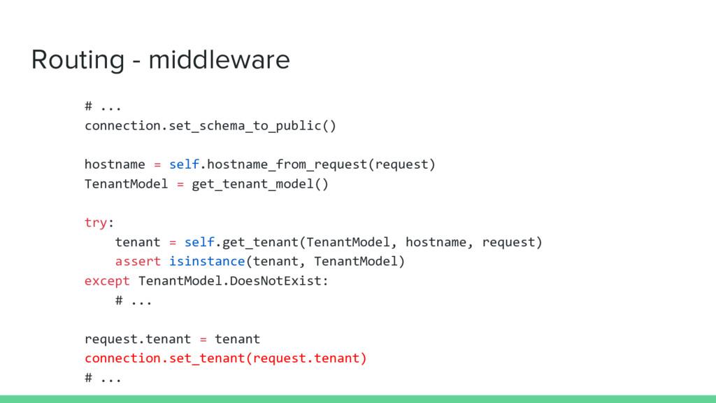 Routing - middleware # ... connection.set_schem...