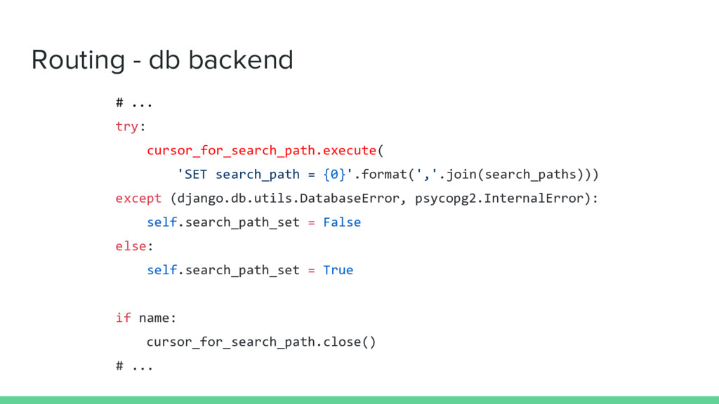 Routing - db backend # ... try: cursor_for_sear...
