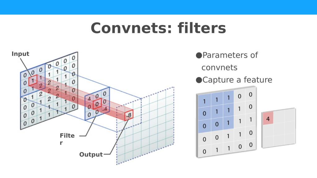 Convnets: filters Input Output Filte r ●Paramet...