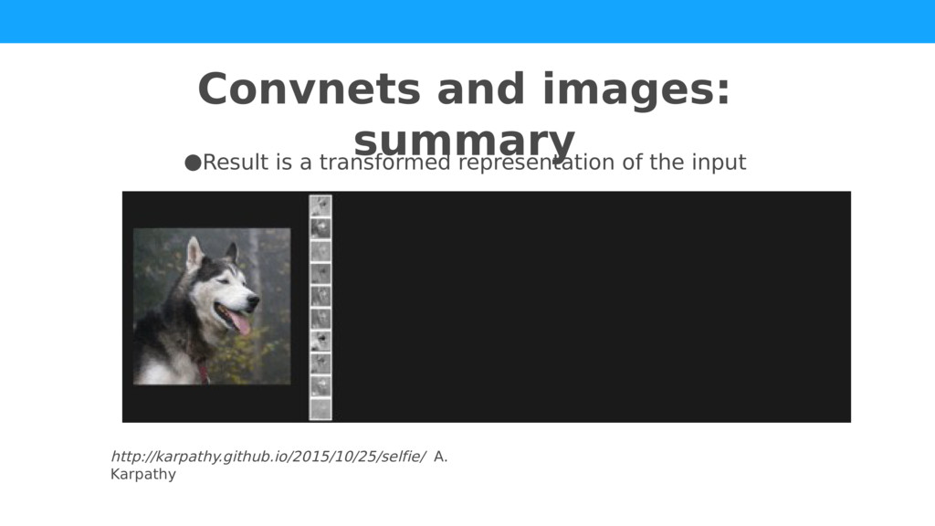 Convnets and images: summary http://karpathy.gi...