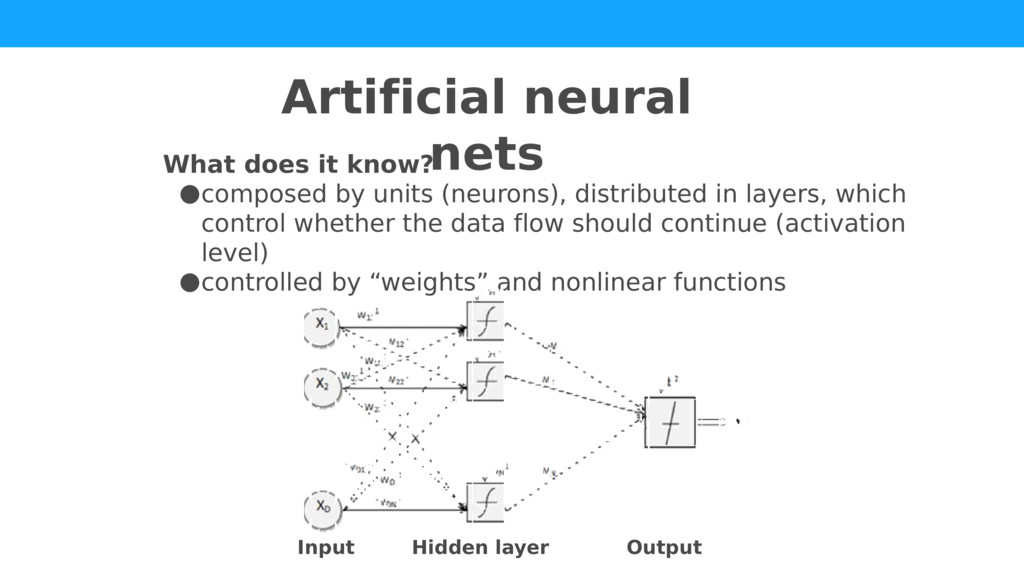 What does it know? ●composed by units (neurons)...