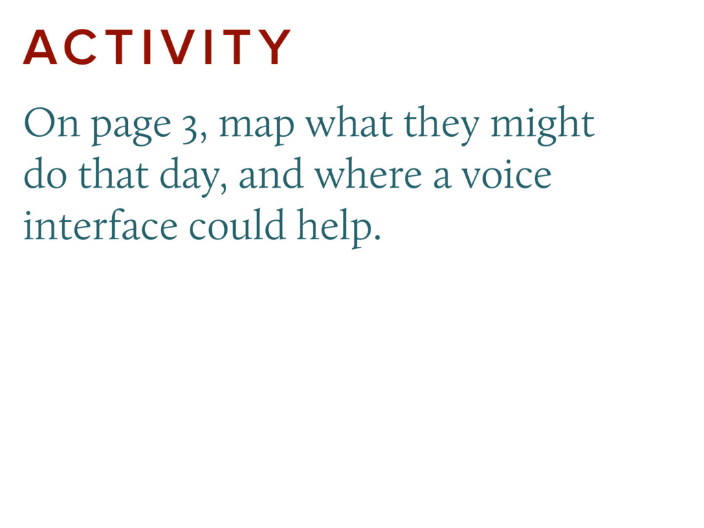 ACTIVITY On page 3, map what they might do that...