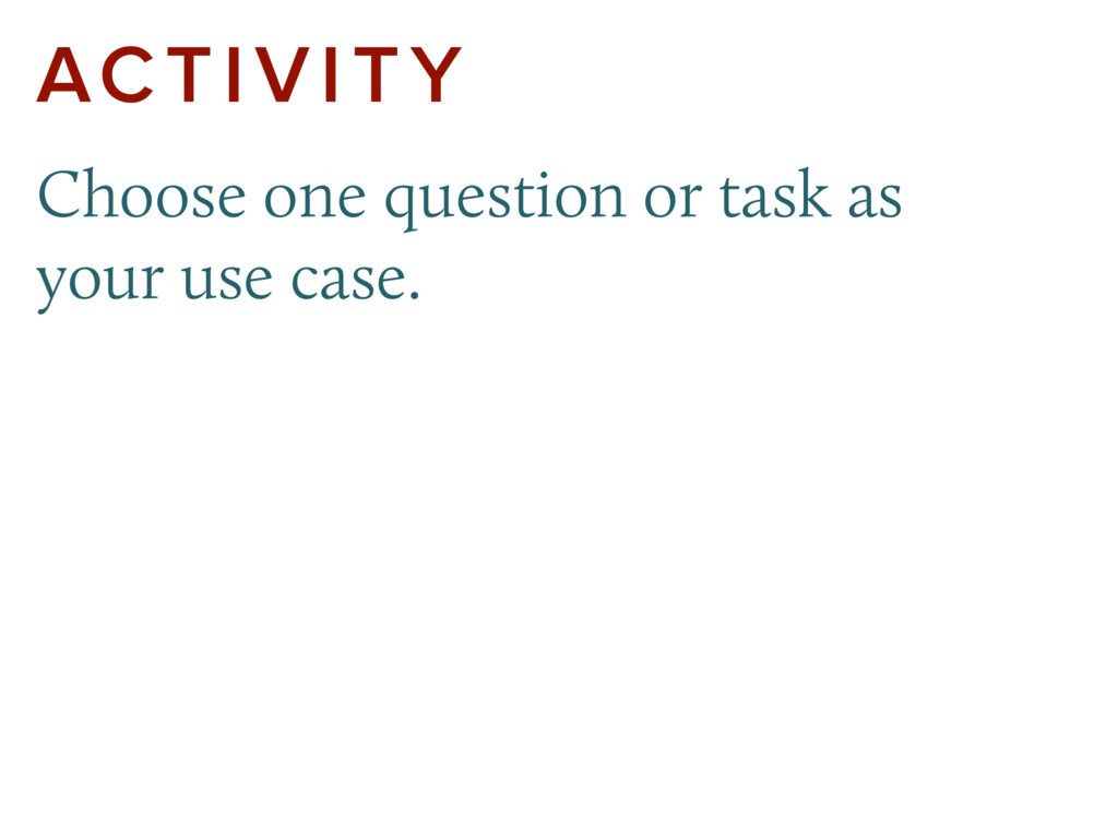 ACTIVITY Choose one question or task as  your ...
