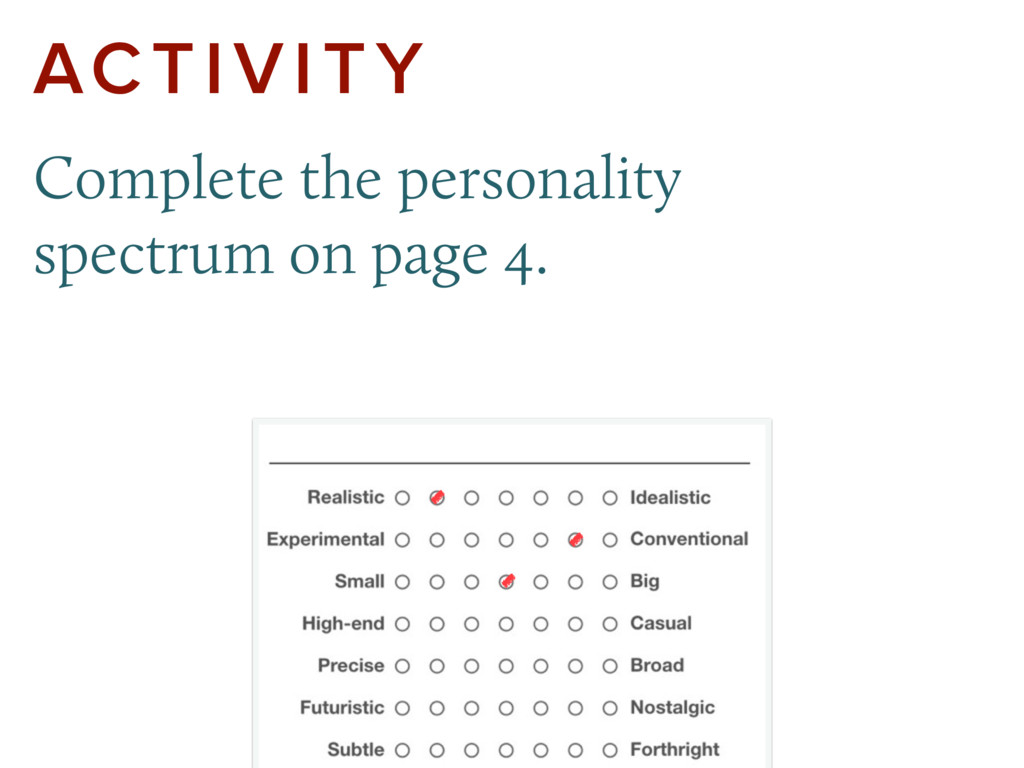 ACTIVITY Complete the personality spectrum on p...