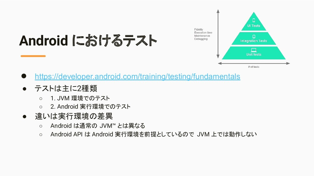 Android におけるテスト ● https://developer.android.com...