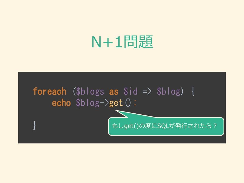 N+1問題 foreach ($blogs as $id => $blog) { echo $...