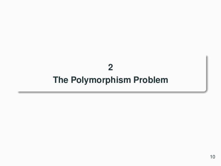2 The Polymorphism Problem 10