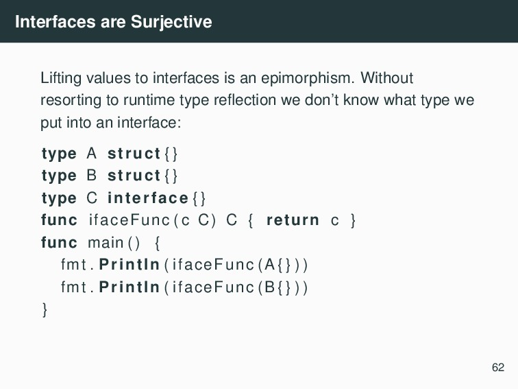 Interfaces are Surjective Lifting values to int...