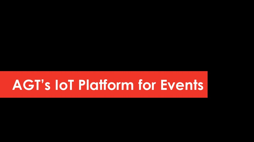 AGT's IoT Platform for Events