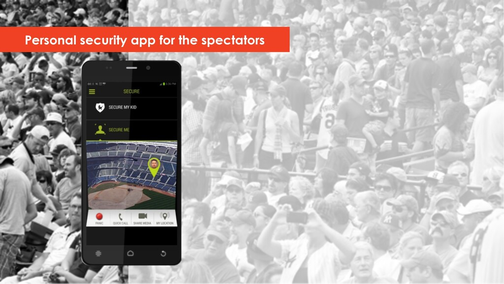 Personal security app for the spectators