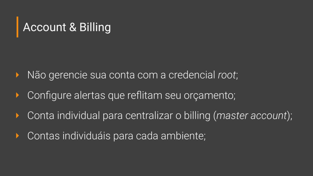 Account & Billing ‣ Não gerencie sua conta com ...