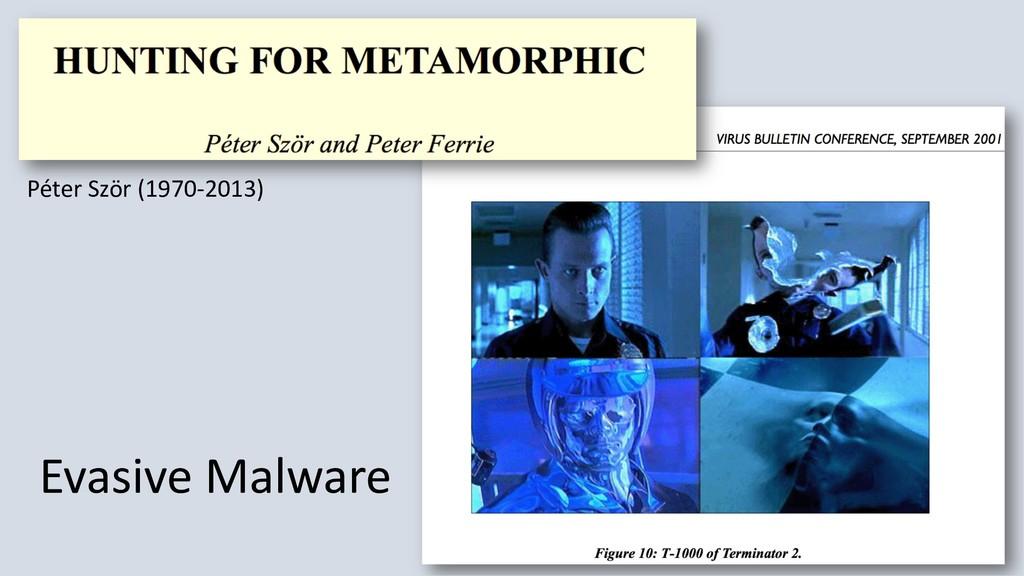 Evasive Malware Péter Ször (1970-2013)