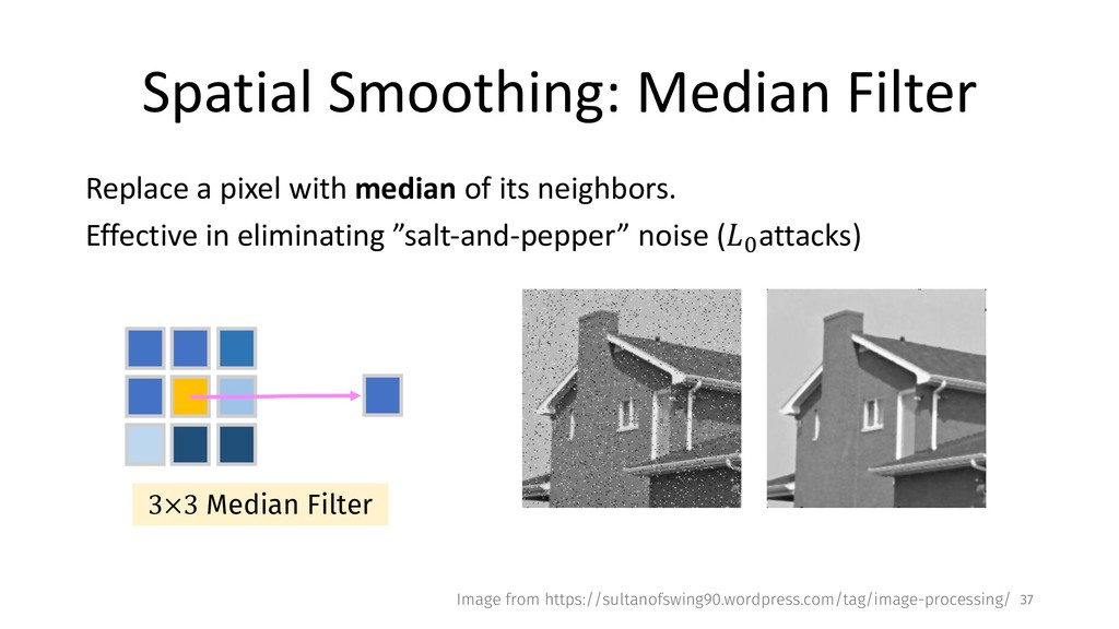 Spatial Smoothing: Median Filter Replace a pixe...