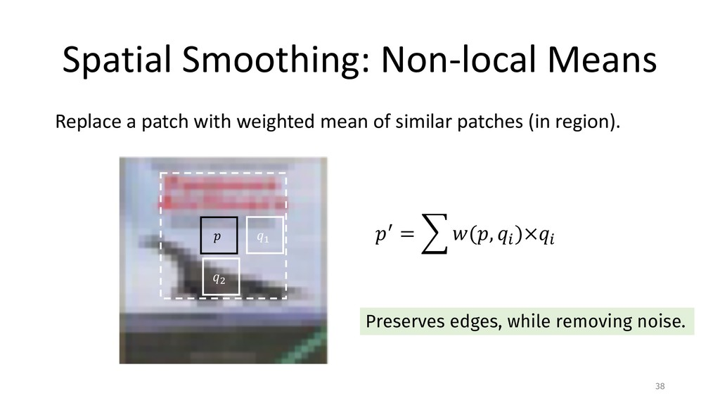 Spatial Smoothing: Non-local Means Replace a pa...