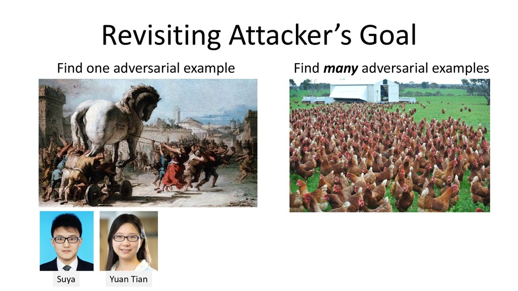 Revisiting Attacker's Goal Find one adversarial...