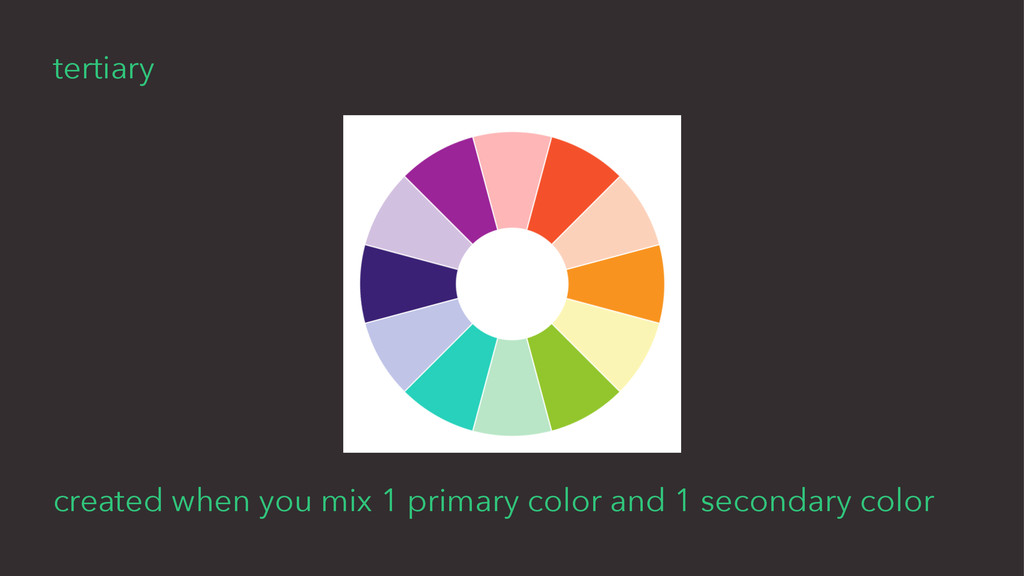 tertiary created when you mix 1 primary color a...