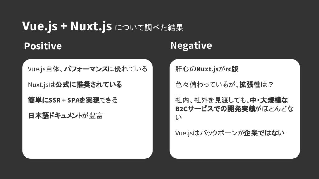 Vue.js + Nuxt.js について調べた結果 Positive Negative 肝心...
