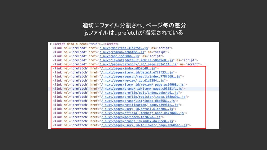 適切にファイル分割され、ページ毎の差分 jsファイルは、prefetchが指定されている