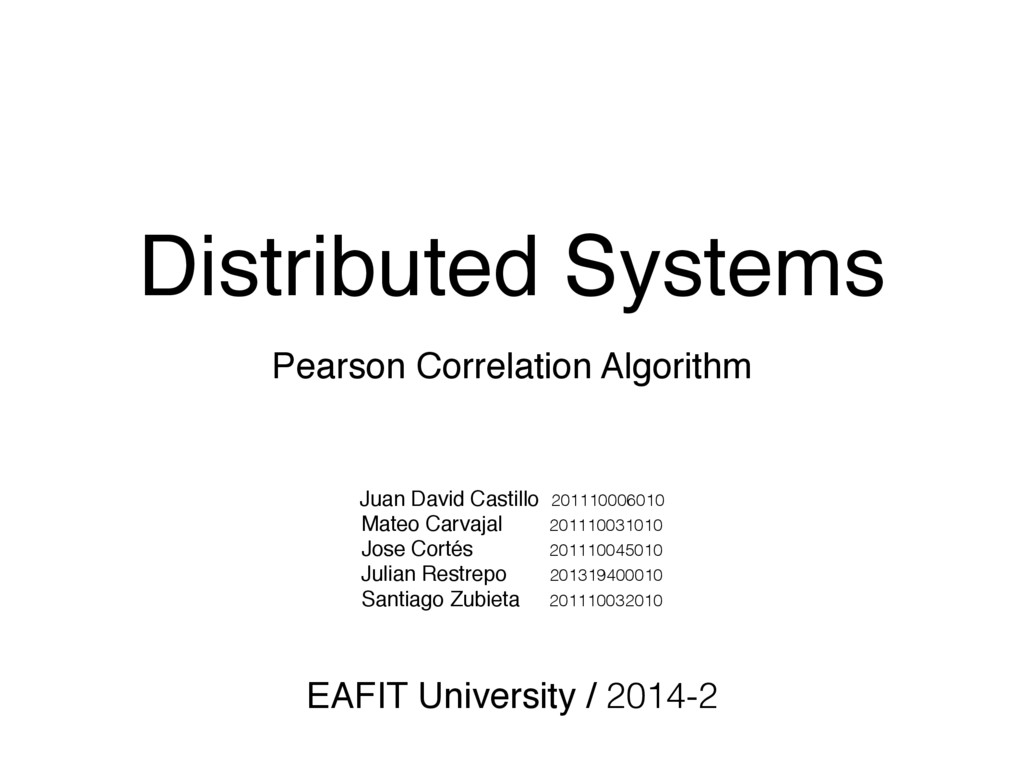 Distributed Systems Pearson Correlation Algorit...