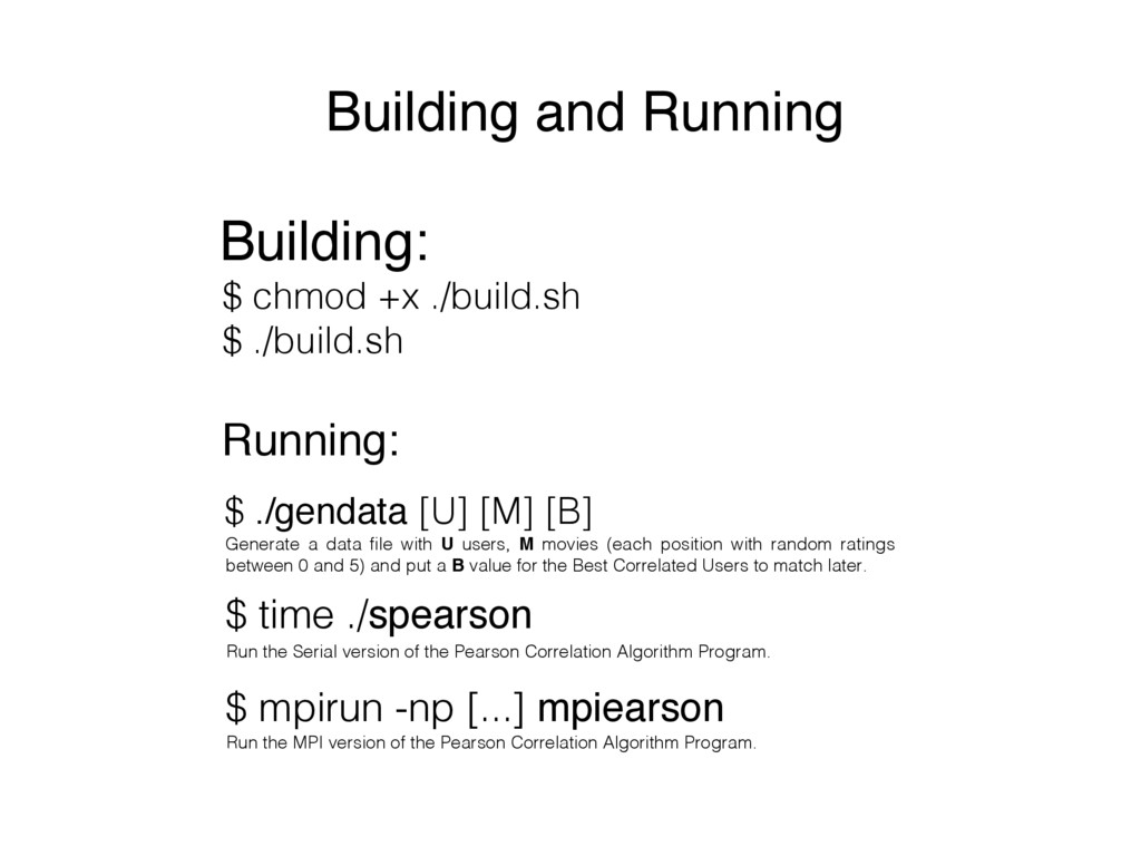 Building and Running Building: Running: $ chmod...