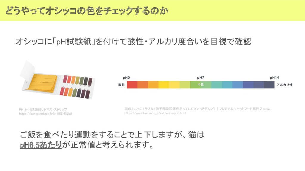 どうやってオシッコの色をチェックするのか オシッコに「pH試験紙」を付けて酸性・アルカリ度合...
