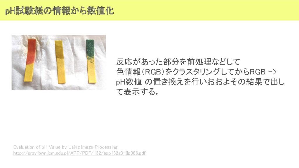 pH試験紙の情報から数値化 反応があった部分を前処理などして 色情報(RGB)をクラスタリ...
