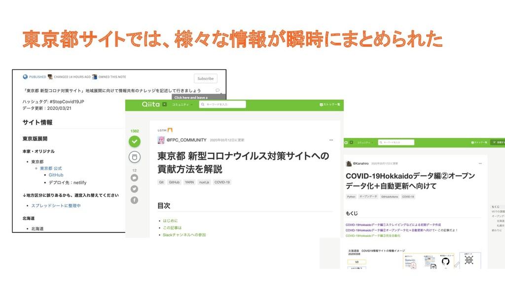 東京都サイトでは、様々な情報が瞬時にまとめられた