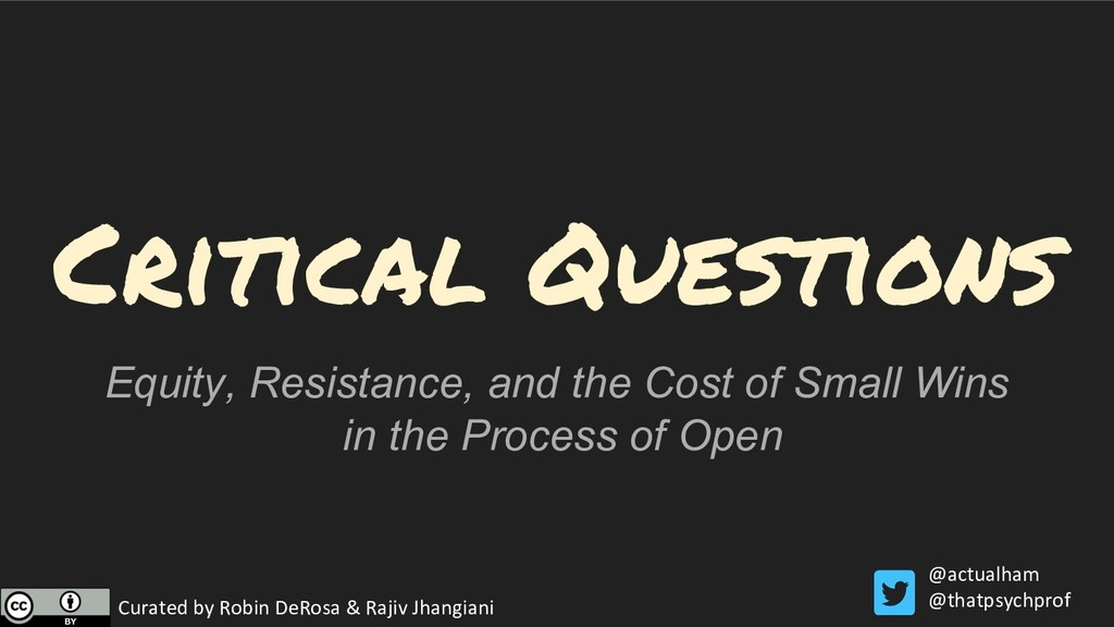 Critical Questions Equity, Resistance, and the ...