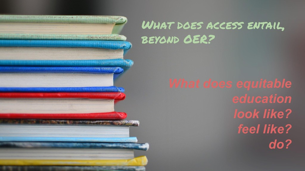 What does access entail, beyond OER? What does ...