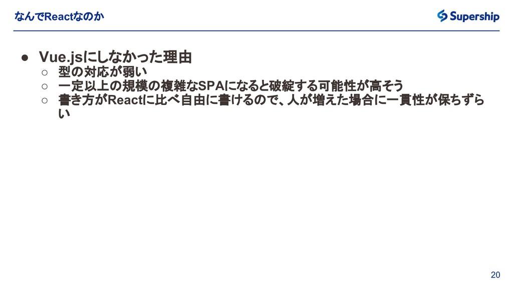 20 なんでReactなのか ● Vue.jsにしなかった理由 ○ 型の対応が弱い ○ 一定以...