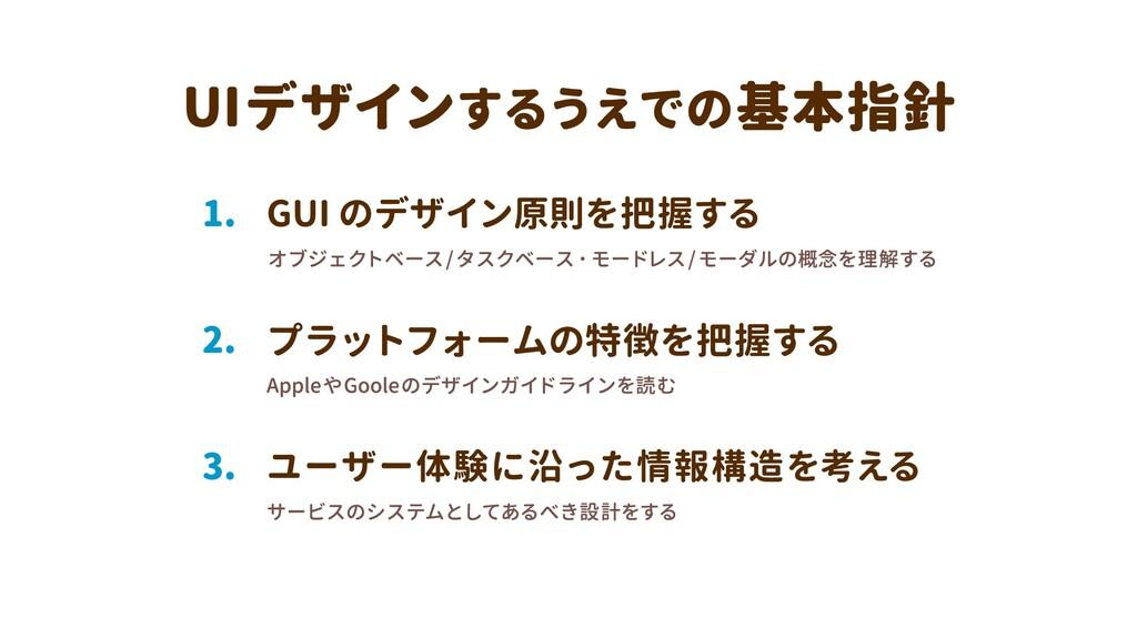 ユーザー体験に沿った情報構造を考える 3. プラットフォームの特徴を把握する 2. GUI の...