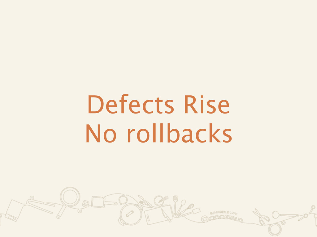 Defects Rise No rollbacks