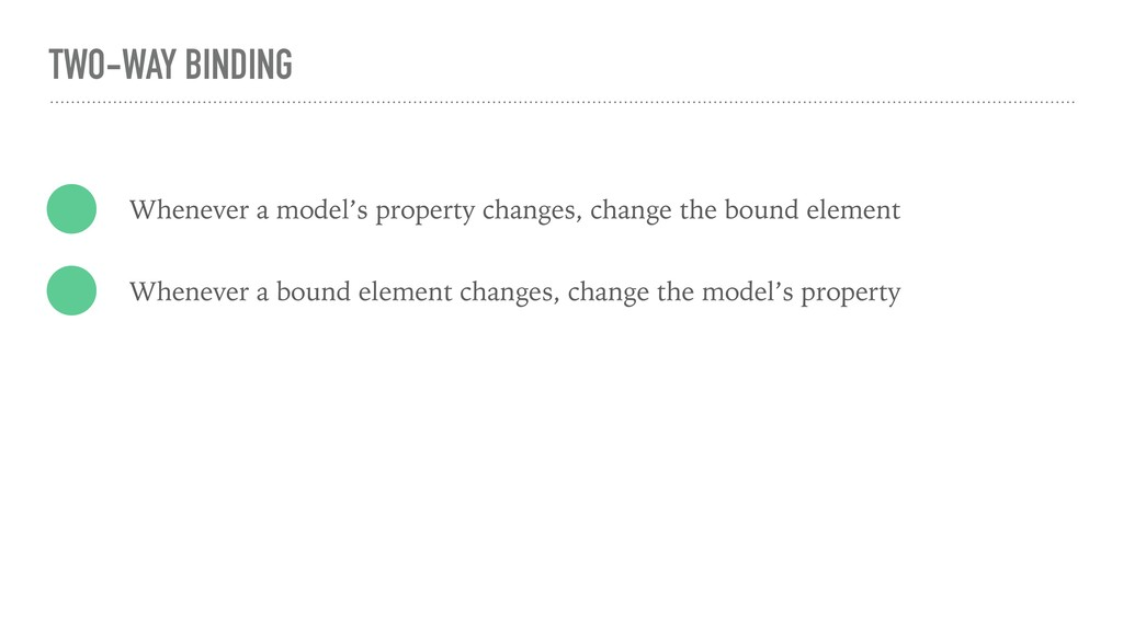 TWO-WAY BINDING Whenever a model's property cha...