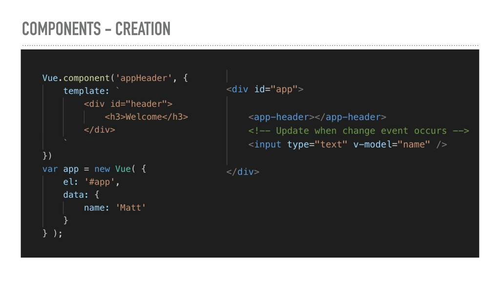 COMPONENTS - CREATION