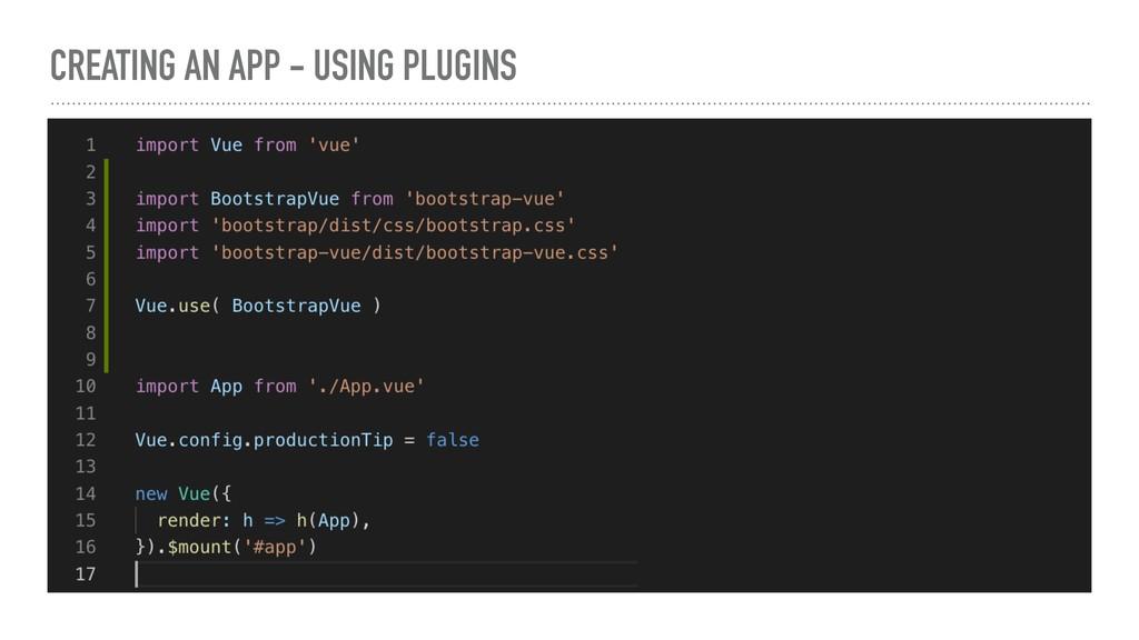 CREATING AN APP - USING PLUGINS