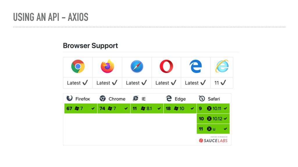 USING AN API - AXIOS