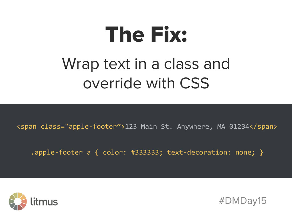 #DMDay15 The Fix: Wrap text in a class and over...