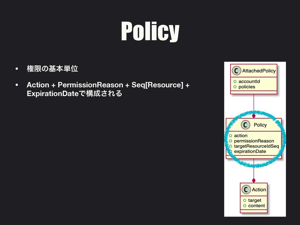 Policy • ݖݶͷجຊ୯Ґ • Action + PermissionReason + ...