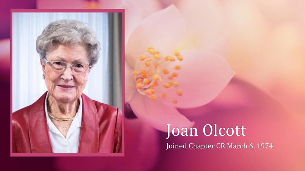 Joan Olcott Joined Chapter CR March 6, 1974