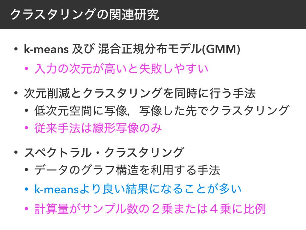 ΫϥελϦϯάͷؔ࿈ݚڀ • k-means ٴͼ ࠞ߹ਖ਼نϞσϧ(GMM) • ೖྗͷ...