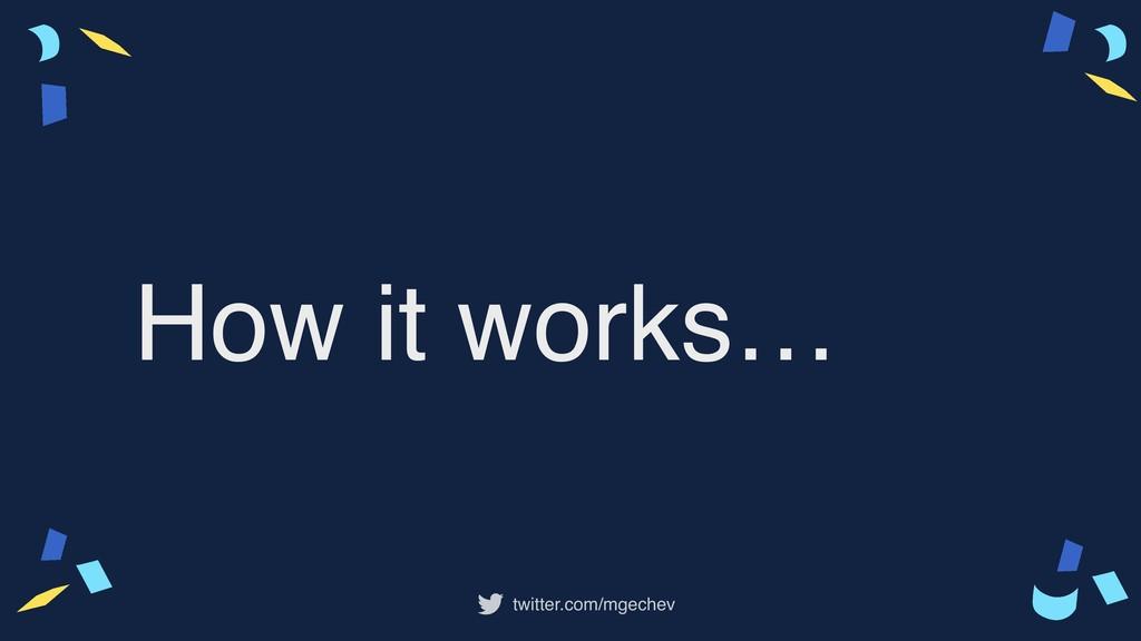 twitter.com/mgechev How it works…