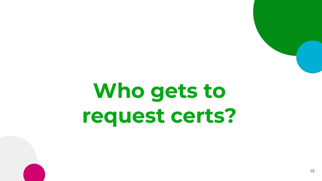 Who gets to request certs? 15