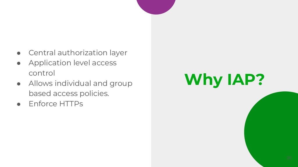 Why IAP? ● Central authorization layer ● Applic...