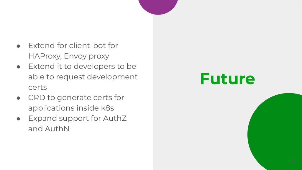 Future ● Extend for client-bot for HAProxy, Env...